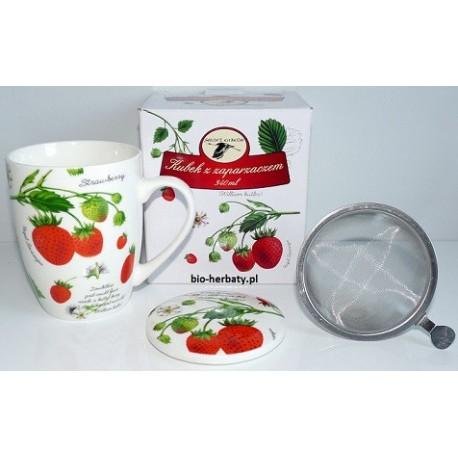 """Kubek ceramiczny z zaparzaczem """"Poziomki"""", 340 ml"""