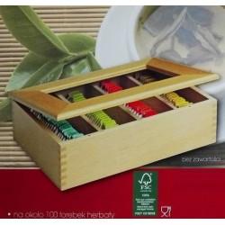 Pudełko na herbatę XL - z drewna bukowego valor (na ok. 100 torebek / saszetek)